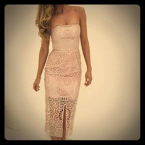 NICHOLAS Geo Floral Lace Strapless Midi Dress